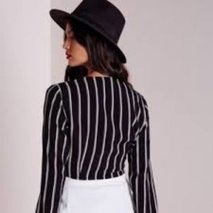 Missguided Tops - Missguided Stripe Tie Front Crop Top Black